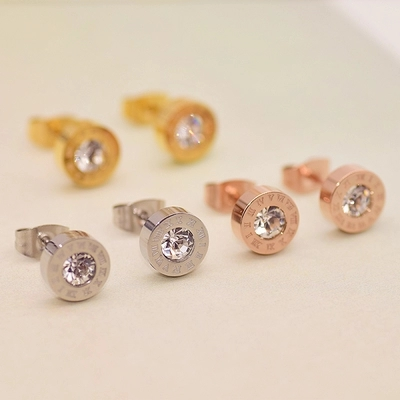 High quality rose gold simple titanium steel Rhinestone Roman numerals earrings holiday gifts for women never fade