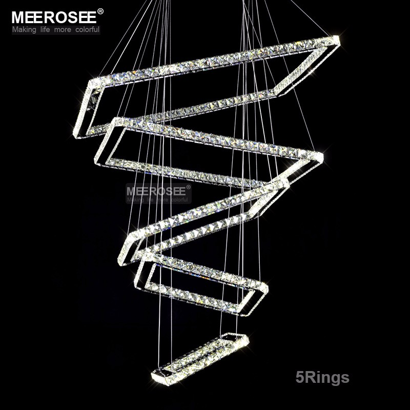 Современные хрустальные светодиодный подвесной светильник 5 квадратов кристалл освещения лестницы для коридоре вилла люстры светильников...