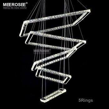 Lámparas De Pasillo | Lámpara Colgante Moderna De Cristal LED Con 5 Cuadrados De Iluminación De Escalera De Cristal Para Lustres De Villa De Pasillo De Hotel