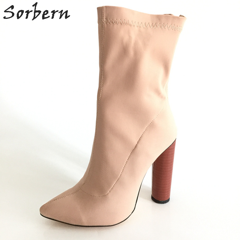 Sorbern Nude Stretch Fabric Round High Heels Pointed Toe Short Women Boots Custom Colors Small Size 33-46 Shoes Ladies New