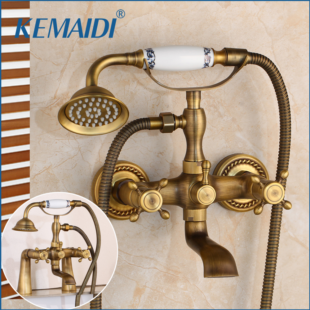 KEMAIDI Bathroom Bath Wall Mounted Hand Held Antique Brass Shower Head Kit Shower Faucet Sets Telephone