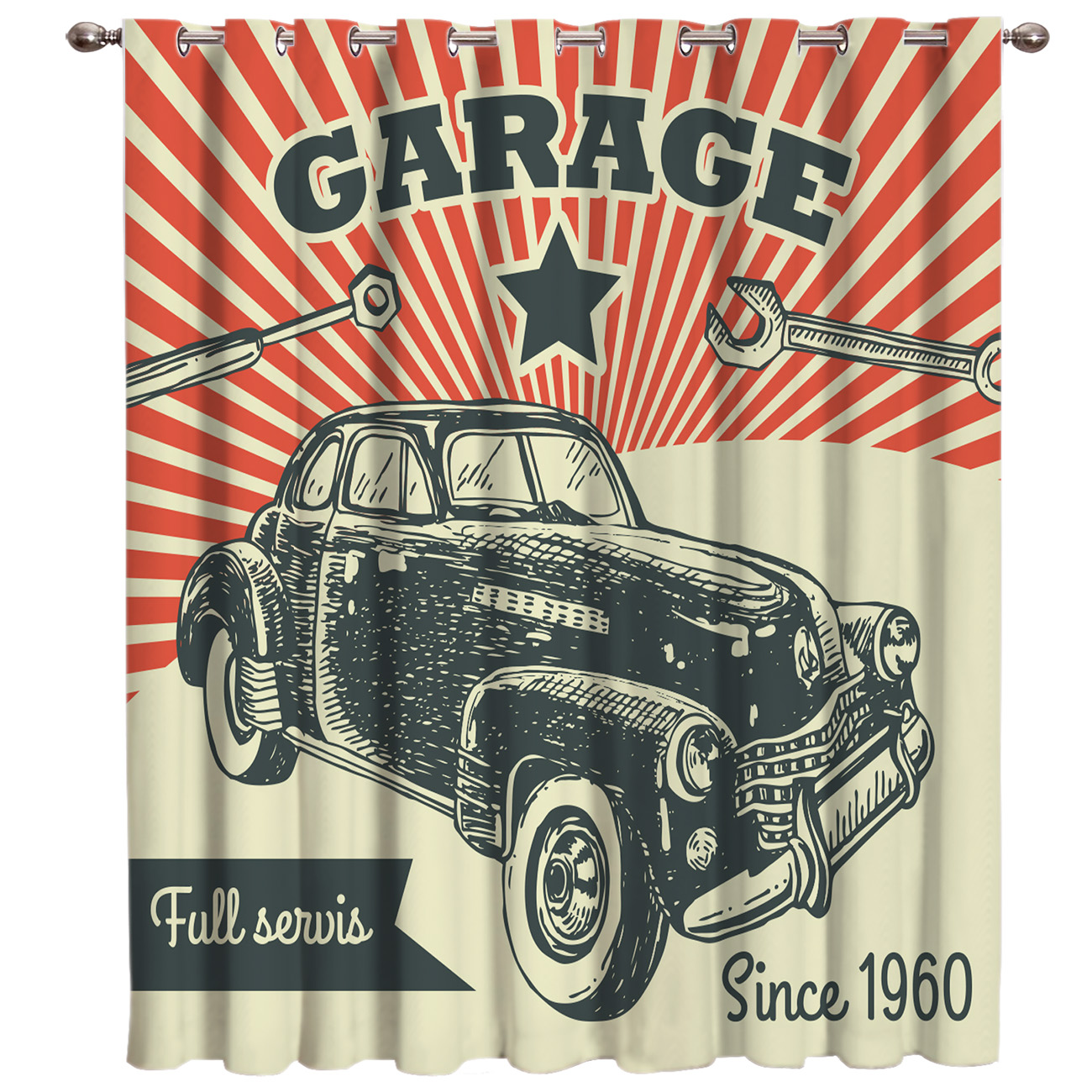 Old Fashioned Car Poster Blackout Bedroom Indoor Fabric Decor Kids Curtain Panels With Grommets Window Treatment Valances Window