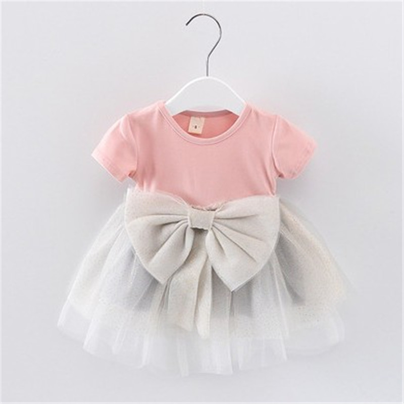 Infant Summer Dress Bow 100% Cotton Pink Plaid Dress Summer Baby Girls Dress 6-24 Months Kids Birthday Clothes(China)