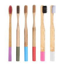 Y&W&F 6 Colors 1pc NEW Natural Bamboo Toothbrush Soft Bristle Wooden Handle Tooth brush Travel Oral Care Rainbow Eco Friendly(China)