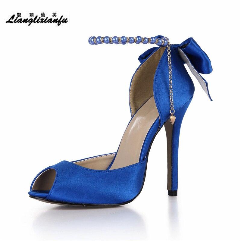 Toe bleu Stilettos Llxf Chaussures Cheville Été kaki Pompes 42 Plus35 rouge Cm Mince Bowtie Hauts Femme Peep Noir Sandales Talons Boucle 43 blanc À 12 Perle Doux DH9IYEW2