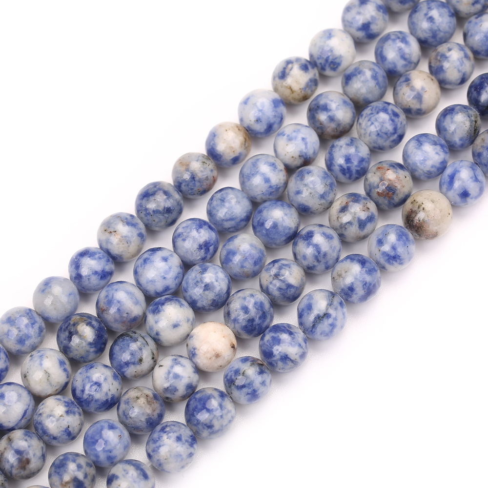 Wholesale White Dot Blue Natural Stone Beads For Jewelry Bracelet Necklace Making DIY Material For Bracelet 4 6 8 10 12MM 15 39 39 in Beads from Jewelry amp Accessories