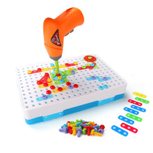 Screwing Toy Electric Puzzle Drill Screw Nut Disassembly Match Tool Educational Assembled Blocks Sets Boys Design Building Toys
