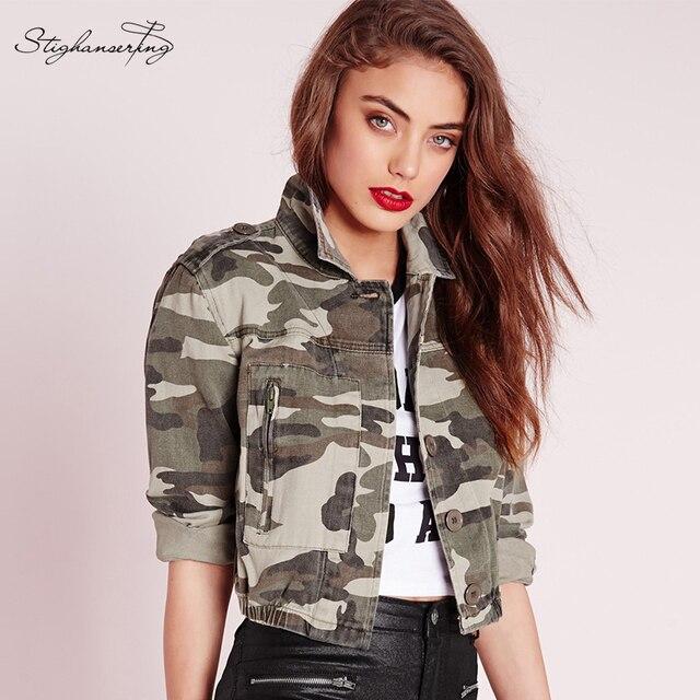 Stighanser ting mujeres outwears chaqueta de camuflaje impreso da vuelta-abajo de un solo pecho de bolsillo de manga larga punk vintage chaqueta de bombardero