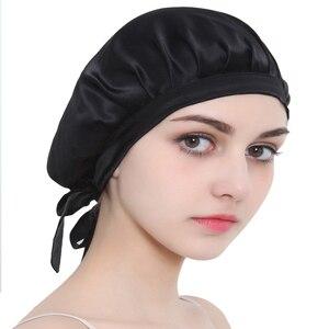 Image 2 - المرأة الحرير الخالص النوم القبعات التفاف قبعة الليل العناية بالشعر بونيه