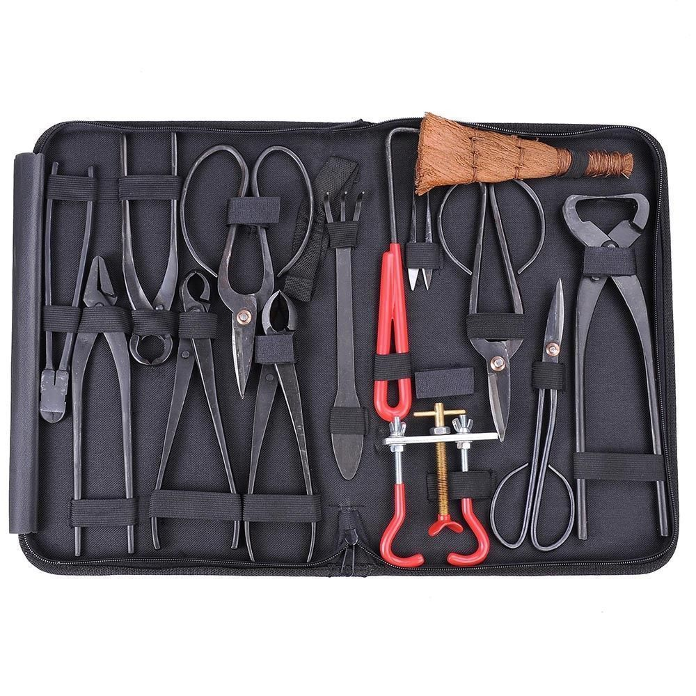 High Quality Bonsai Tools Set Multi-function Bonsai Kit 14 - Piece Set Carbon Steel Shear Set And Tool Kit /Roll Wires(China)