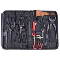 Ensemble d'outils de bonsaï de haute qualité kit de bonsaï multifonction ensemble de 14 pièces ensemble de cisaillement en acier au carbone et trousse à outils/fils de rouleau