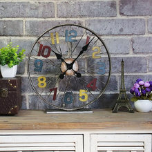 TUDA Free Shipping 12 inch American Style Retro Table Clock for Living Room Bar Cafe Restaurant Decoration Craft Table Clock(China)