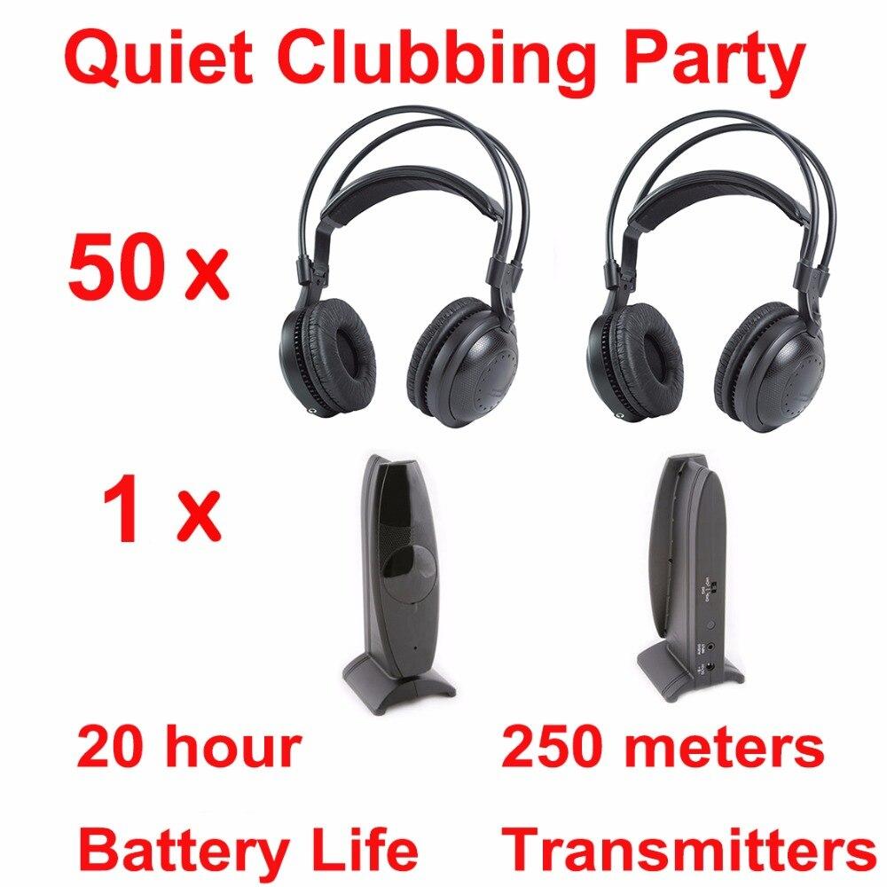 Most Professional Silent Disco compete system wireless headphones - Quiet Clubbing Party Bundle (50 Headphones + 1 Transmitter)Most Professional Silent Disco compete system wireless headphones - Quiet Clubbing Party Bundle (50 Headphones + 1 Transmitter)