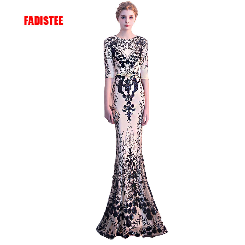FADISTEE New arrival elegant party   dress     evening     dresses   Vestido de Festa gown bling sequin half sleeves sexy stretch prom   dress
