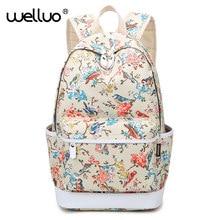 Водонепроницаемый птица печати рюкзак Для женщин холст Школьные сумки для девочек-подростков дорожная сумка рюкзак цветок рюкзак женский XA662B