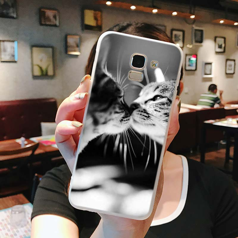 Silicone Phone Case Cute Cat Fashion Printing for Samsung Galaxy j8 j7 j6 j5 j4 j3 Plus Prime 2018 2017 2016 Case Cover in Fitted Cases from Cellphones Telecommunications