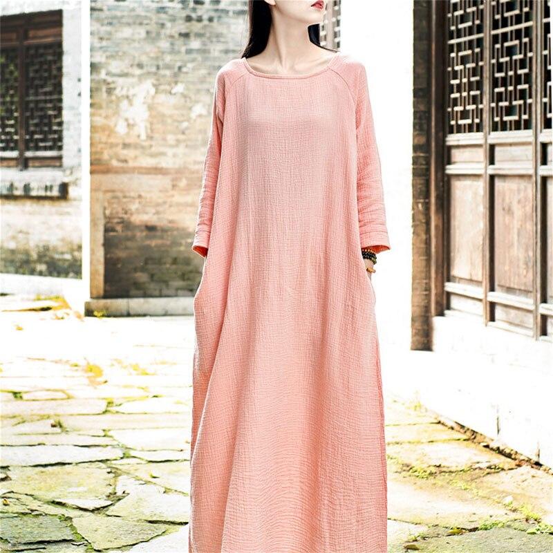 Scuwlinen 2018 spring women dresses solid long sleeve soft for Soft cotton dress shirts