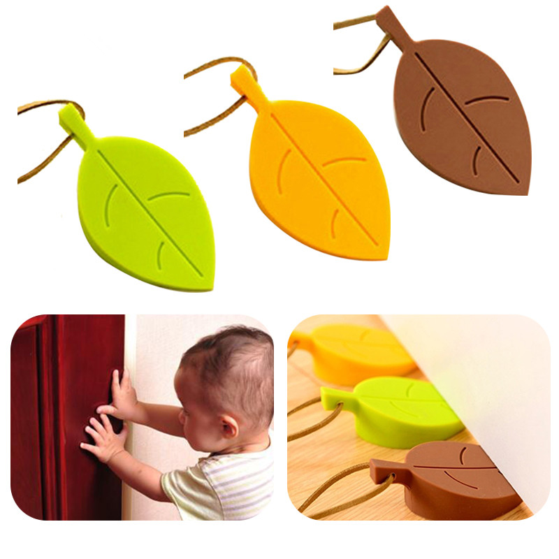 Hot Silicone Rubber Door Stopper Cute Autumn Leaf Style Home Decor Finger Safety Protection Wedge Kid Baby Safe Doorways Gates