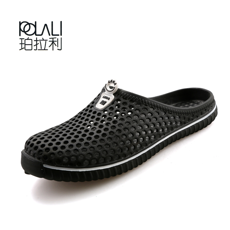 POLALI New Summer Sandals Men Mesh Shoes Mules Clogs Breathable Beach Slippers Male Water Hollow Aqua Wading Chaussure Homme