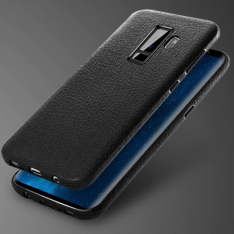 Ретро кожаный чехол кожи для Samsung Galaxy S9 Fundas s9plus Роскошные обычный тонкий ТПУ Coque чехол для Samsung Galaxy S9 плюс Чехол