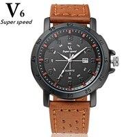 Relógio v6ปฏิทินนาฬิกาแฟชั่นลำลองสำหรับบุรุษธุรกิจนาฬิกากันน้ำขนาดใหญ่แบบdialกีฬานาฬิกาข้อมือห...