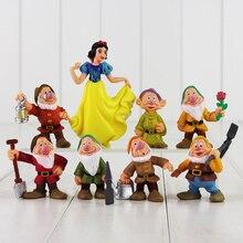 8 unids/set princesa Blancanieves y los siete enanitos figura de juguete 5 10cm Mini modelo muñeca para niños