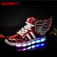 Children Shoes With Light Boys Girls Casual LED Shoes For Kids USB Charging LED Light Up