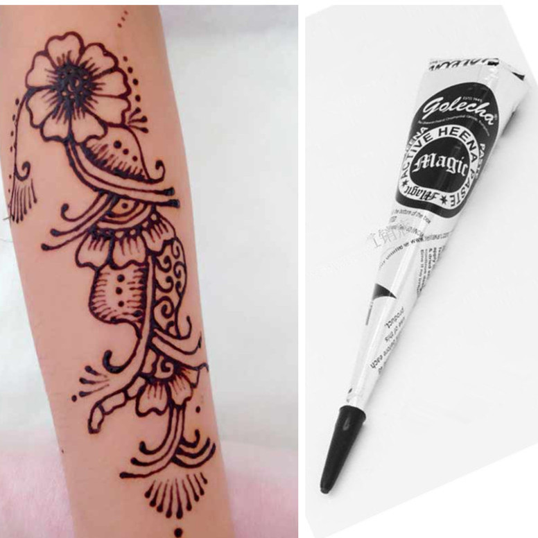Buy 1pcs temporary tattoo black henna for Henna body tattoo