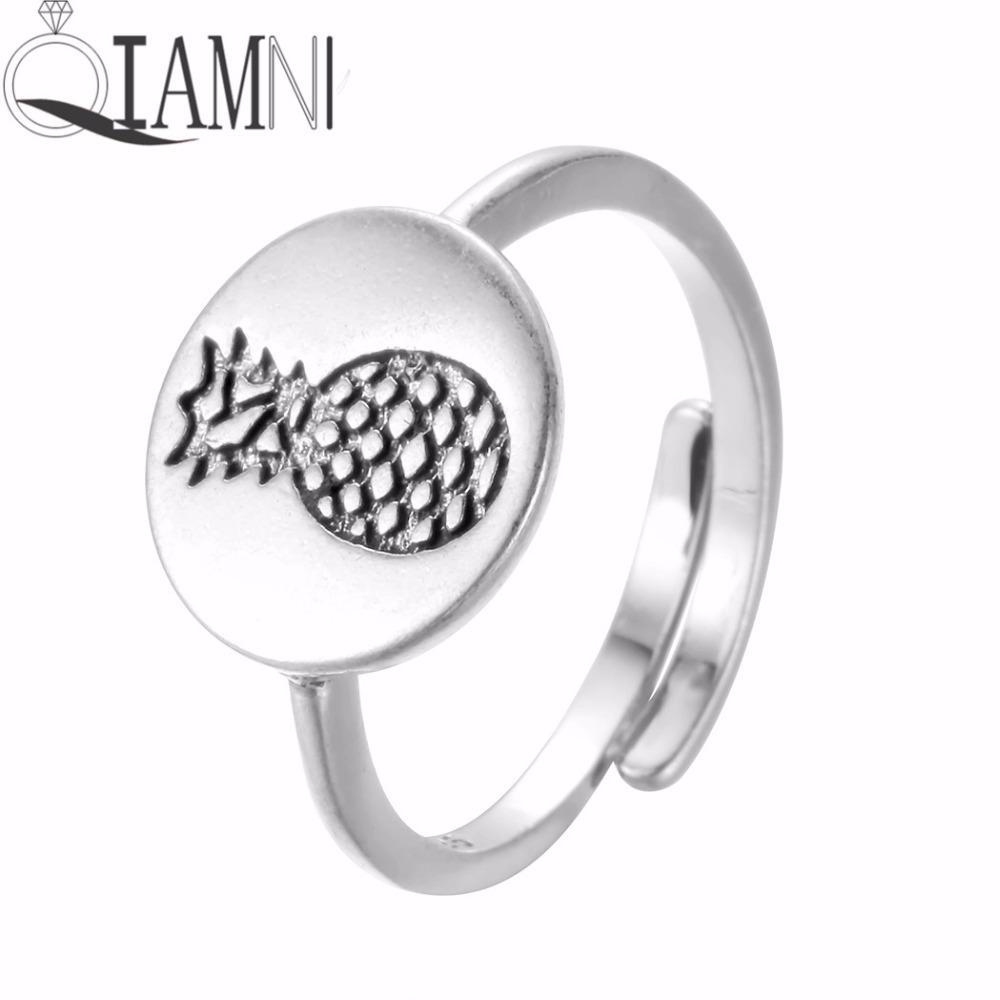 QIAMNI Funny Silver Round Fruit Pineapple Promise Open Finger Adjustable Ring for Women  ...