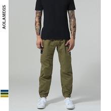 Aolamegs Pants Men Side Zipper Patch Track Male Trousers Elastic Waist Fashion High Steet Joggers Sweatpants Streetwear