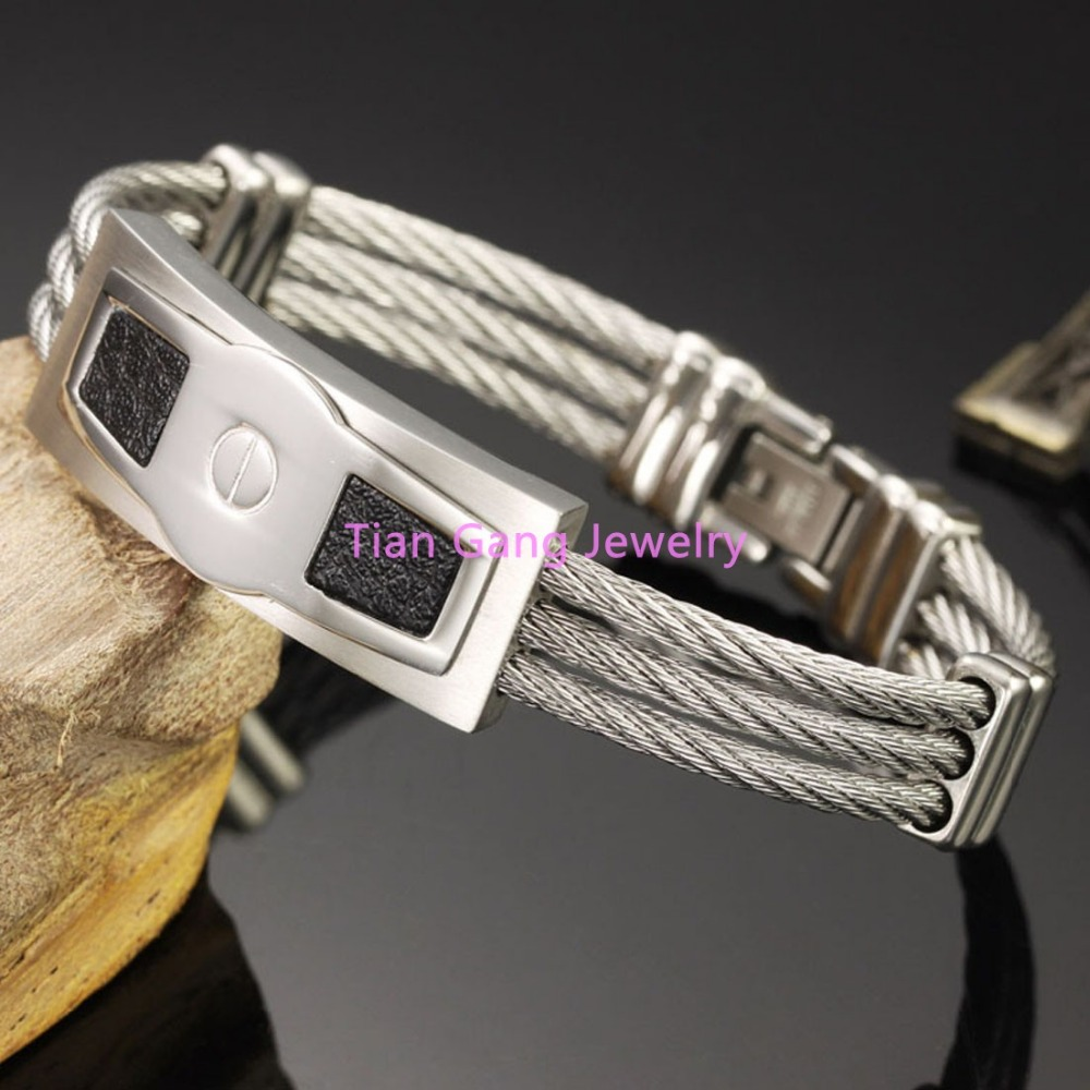 Top Quality 316L Stainless Steel Silver Black Cable Wire Bangle Mens Cuff Wristband Womens Gift Bracelet Jewelry