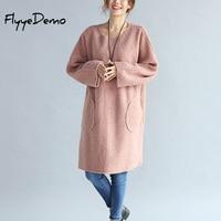 Women Fleece Dress 2019 Autumn Winter Oversized Batwing Dress Vestidos Thickening O Neck Casual Pink Black Loose Robe
