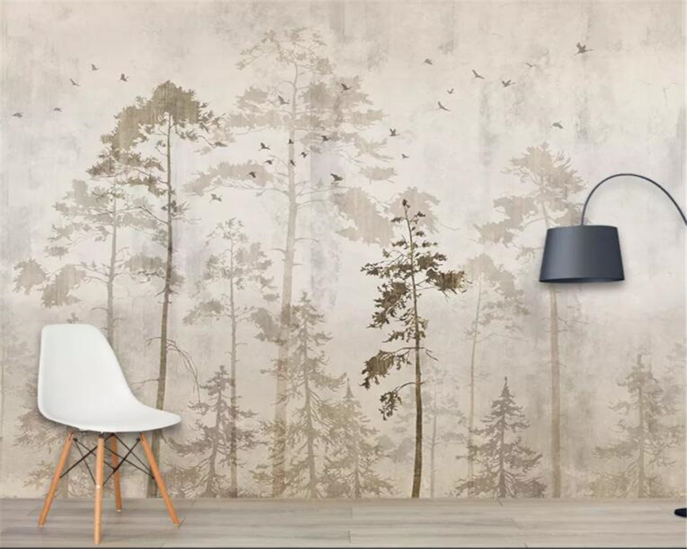 Beibehang Custom Photo Wallpaper Black And White Woods Nature Landscape Wall Mural Living Room Sofa TV Background 3D Wallpaper