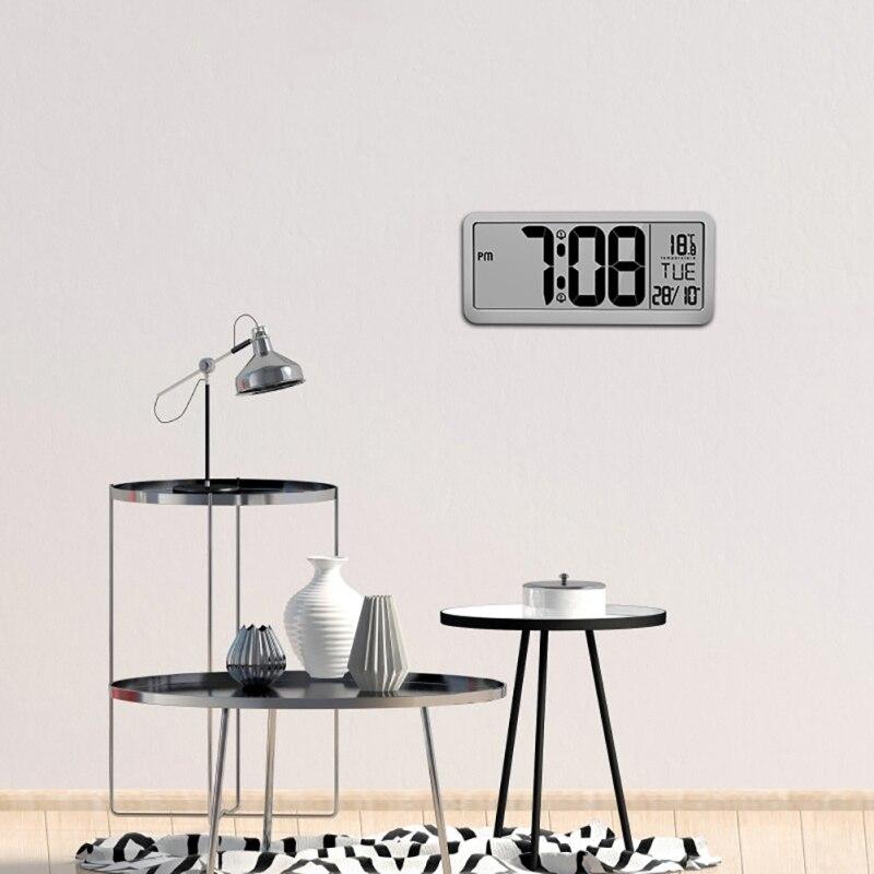 Accueil numérique LCD grand écran d'affichage LED réveil électronique bureau température humidité horloge électronique alimenté par batterie
