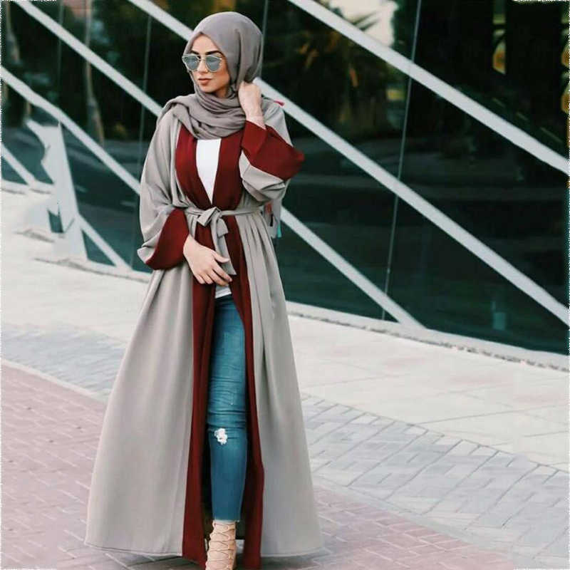 Muslim wanita Abaya Maxi Dress Cardigan Full-length Panjang Jubah Gowns Sashes Tunic Kimono Jubah Arab Islam Ramadan pakaian