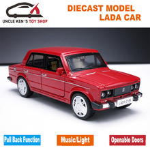 Russian Vaz Model Car, 1: 32 Scale Lada Diecast Car, Alloy Toys for Kids Boys, Metal Model With Sound/Light/Pull Back Function