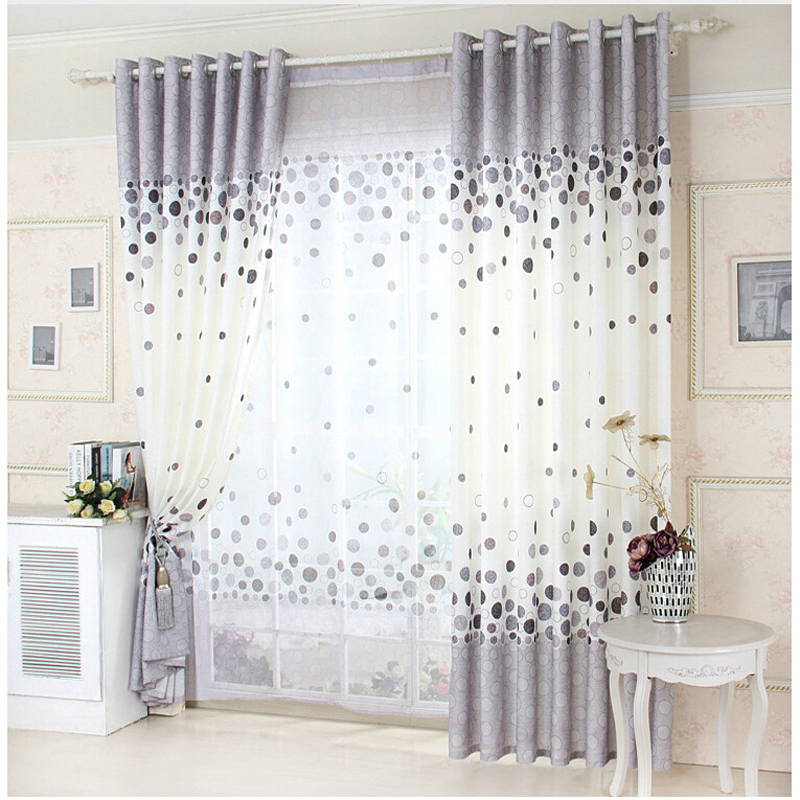 Grey Printed Curtain Wall Design Cloth Curtains Flower