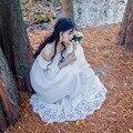 2016 Новая Коллекция Весна Винтаж Женщин Long dress Slash шеи Чистого Хлопка Элегантный Fairy Clos Платья Белый 6008