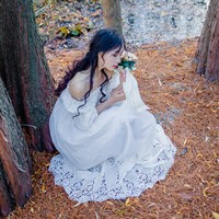 2016 New Spring Vintage Women Long Dress Slash Neck Pure Cotton Elegant Fairy Clos Dresses White