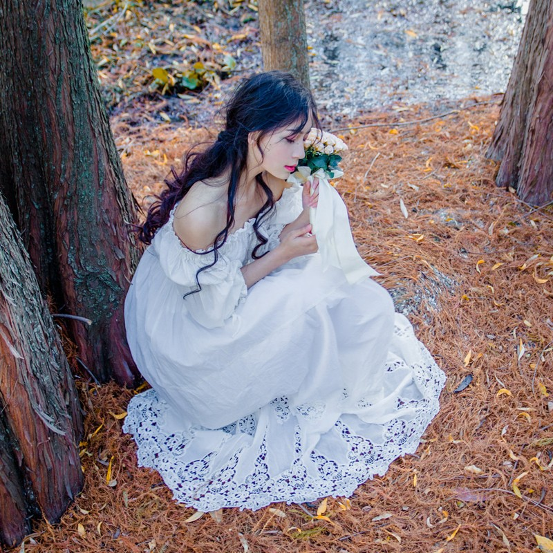 2017 New Spring Vintage Women Long dress Slash neck Pure Cotton Elegant Fairy Clos Dresses White 6008