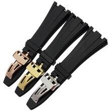 Merjust 26mm 28mm preto silicone borracha relógio pulseira pulseira para ap royal oak pulseira cinto 40mm 42mm caso