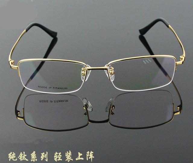 Super light pure titanium armação dos óculos moldura óculos de miopia quadros meia caixa de moda popular masculino wireframe