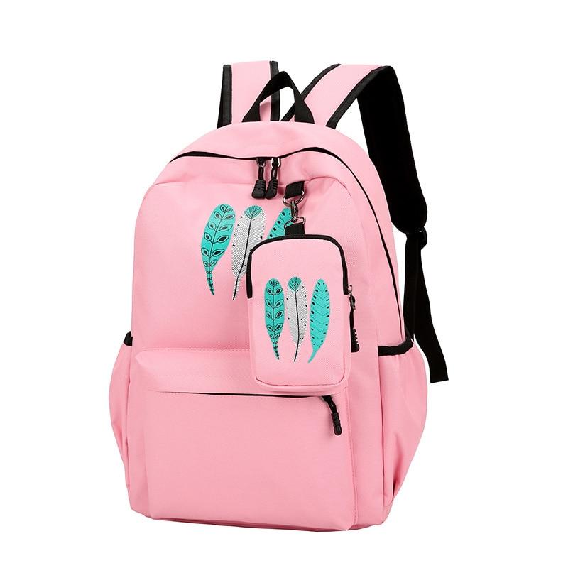 Girls Canvas School Backpack 2 pcs set Women Pink Backpack Fashion Travel  Bags Mochila feminina escolar bagpack Preppy Style e3284c241e8b4