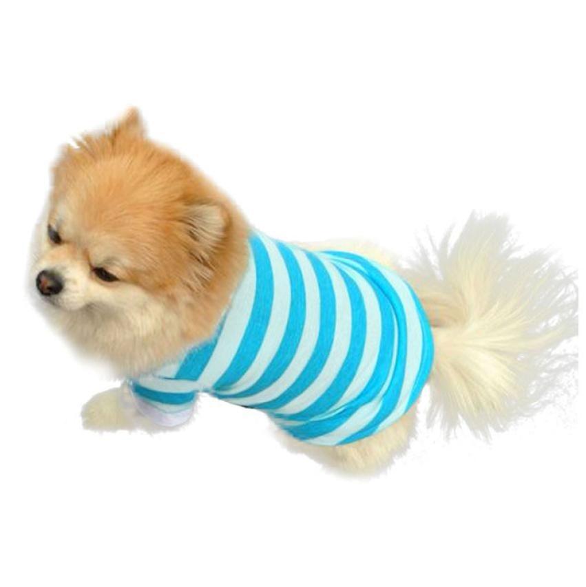 New Cute Dog Puppy T Shirt Clothes Lapel Stripe Cotton Pet Clothes Hot Roupas Para Cachorro #QPB