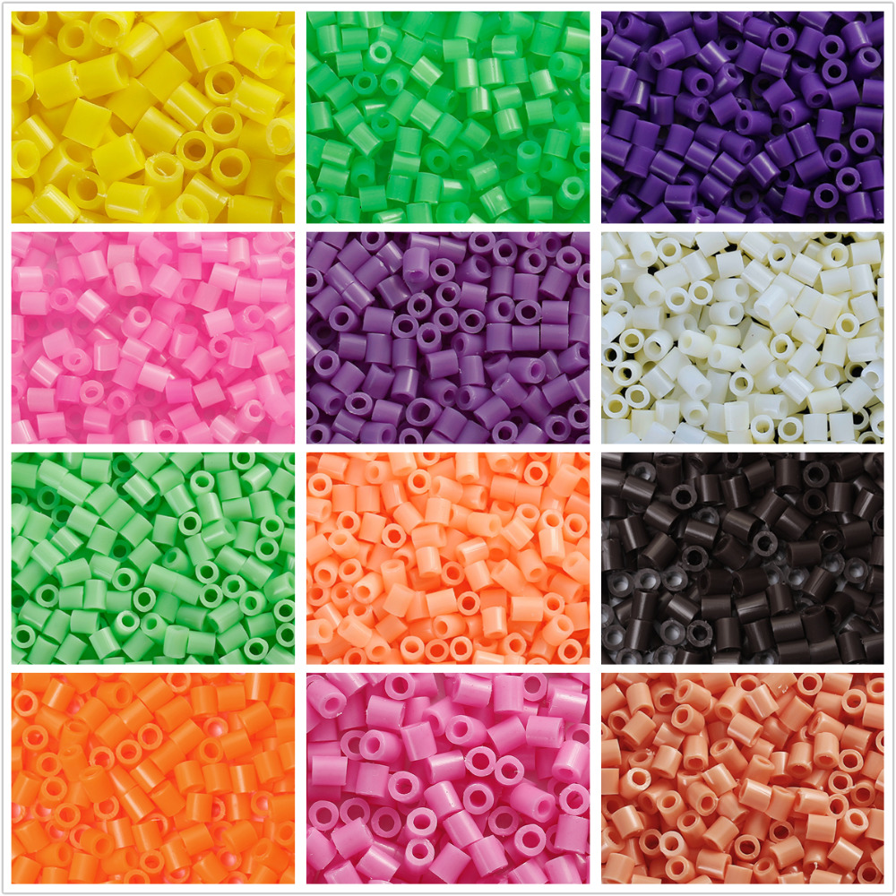 DoreenBeads 5mm 1000pcs Hama Beads Fuse Beads DIY Toy Puzzle Kids Child Intelligence Educational Craft Toy Cylinder 16 Colors