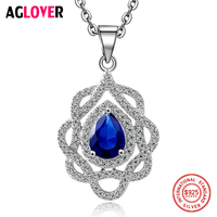 Ocean Heart Necklace 100 Sterling Silver Woman Charm Sapphire Pendant Necklace 50cm 925 Silver Chain Fashion