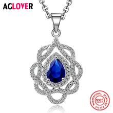 Фотография Ocean Heart Necklace 100% Sterling Silver Woman Charm Sapphire Pendant Necklace 50cm 925 Silver Chain Fashion Fine Jewelry