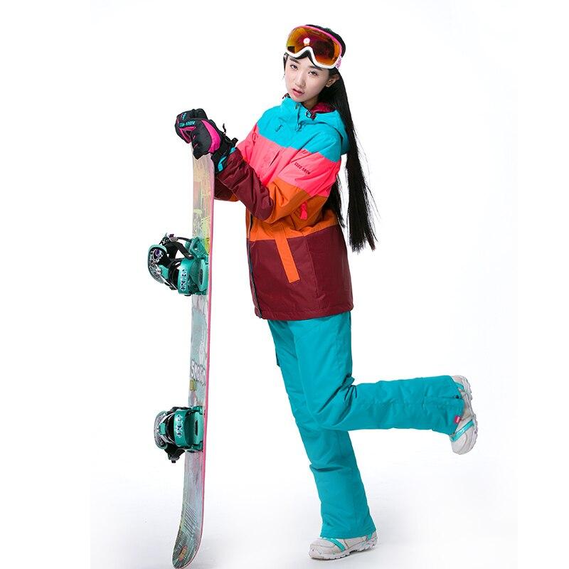 Prix pour Gsou Snow Femmes de ski vestes et pantalons de ski Ensembles étanche Snowboard combinaison de ski sports de Plein Air ski thermique des vêtements chauds