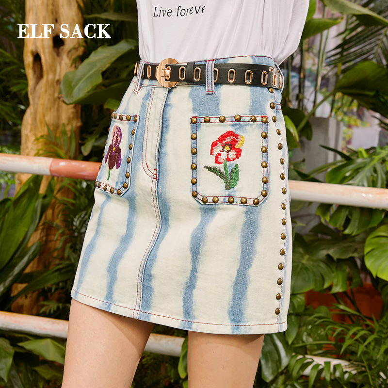 ELF SACK 2019 Spring New Woman Skirts Striped Print Mini Natural Women Skirts Casual Rivet Straight