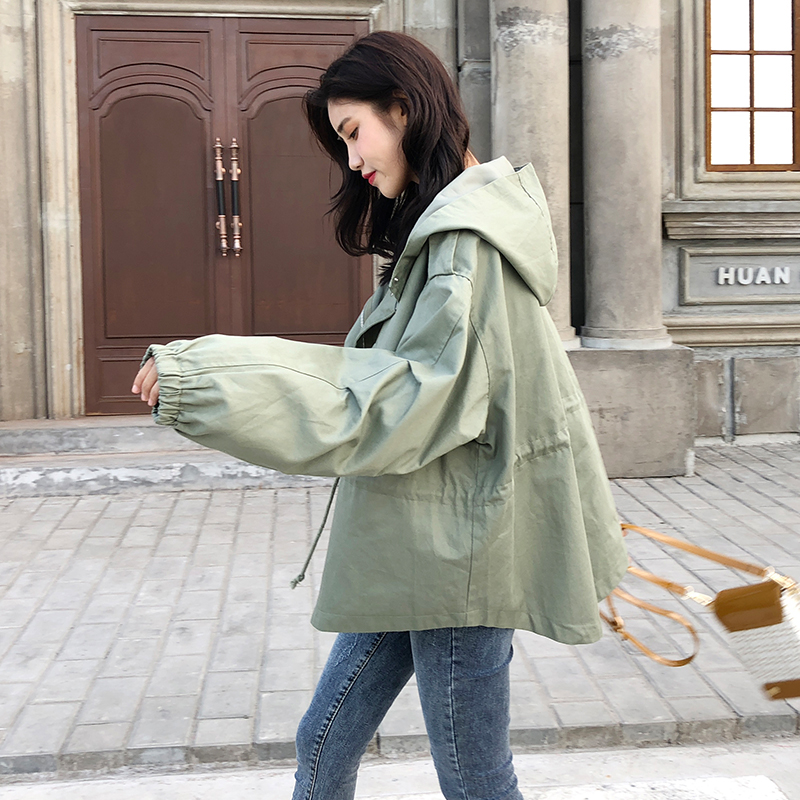 FTLZZ New Loose Trench Coat Spring Autumn Women's Hooded Black Green Windbreaker Outerwear Female Casual Trench Coat 13